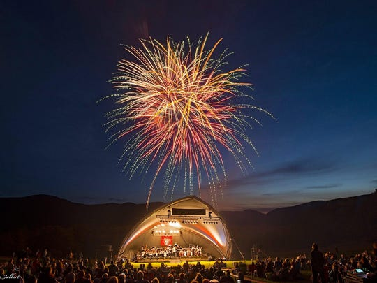 The Vermont Symphony Orchestra performs a past Fourth of July show at Shelburne Farms.