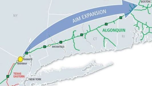 The route of the Algonquin pipeline to New England.