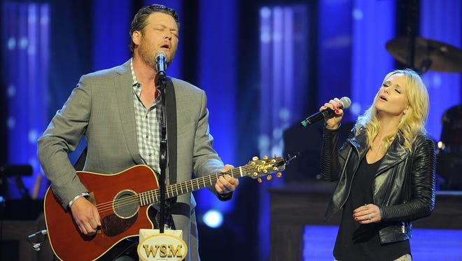 Blake Shelton and Miranda Lambert perform during the 40th anniversary celebration for the Grand Ole Opry House Saturday March 15, 2014, in Nashville, TN.