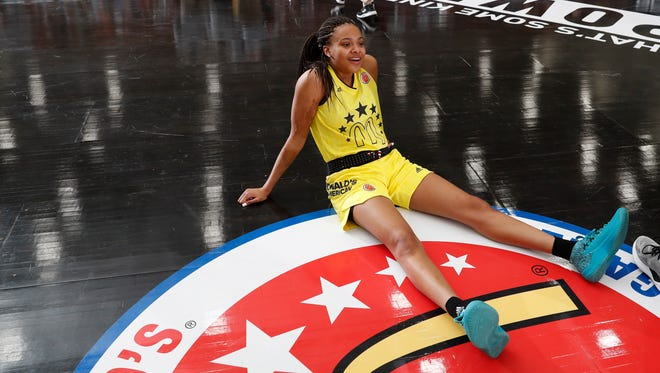 McDonalds High School All American guard Katlyn Gilbert sits on the floor during the McDonalds High School All American Powerade Jamfest at Forbes Arena at Morehouse College.