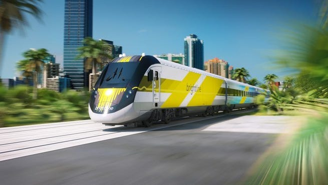 This rendering depicts All Aboard Florida's Brightline train.