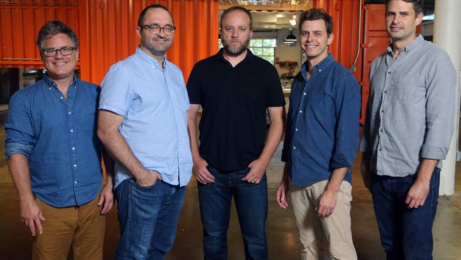 Barrett Ward, Jesse Sproul, Joel Griffith, Matt Lehman, Michael Graziano, founders of Newly at Weld, a co-working space, on Thursday October 20, 2016.