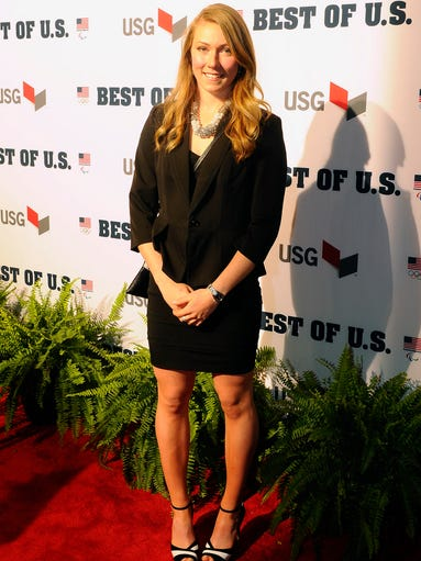 Olympic gold medalist Mikaela Shiffrin on the red carpet before the United States Olympic Committee's Best of U.S. Awards Show at Warner Theater in Washington on Wednesday.