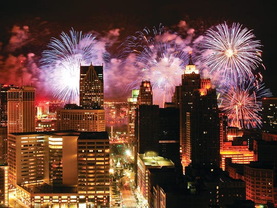 Fireworks illuminate the sky over Detroit