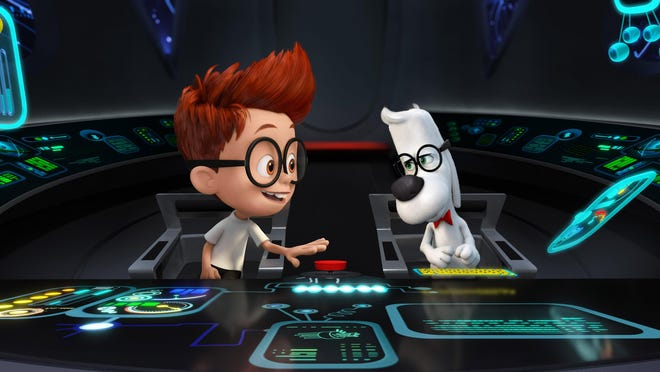 """Sherman (voiced by Max Charles), left, and Mr. Peabody (voiced by Ty Burell) in """"Mr Peabody & Sherman"""""""