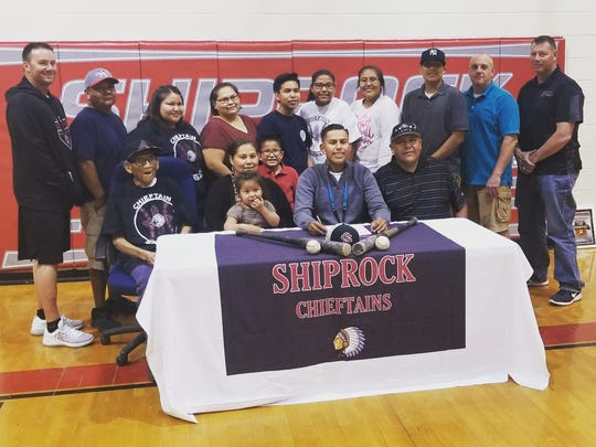 Shiprock's Dylan Begay signed his national letter of intent on Thursday to continue his baseball career at Luna Community College in Las Vegas, New Mexico.