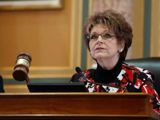 Rep. Linda Upmeyer, speaker of the house of representatives, dismisses the morning session Monday, Jan 11, 2016 at the Iowa State Capitol in Des Moines.