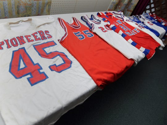 Part of Bruce Caplinger's collection is a group of jerseys from Zane Trace High School.