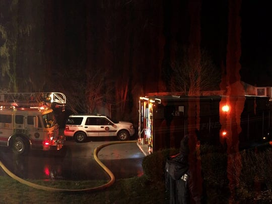 A panoramic photo of the scene of a fire in York Township Sunday night.