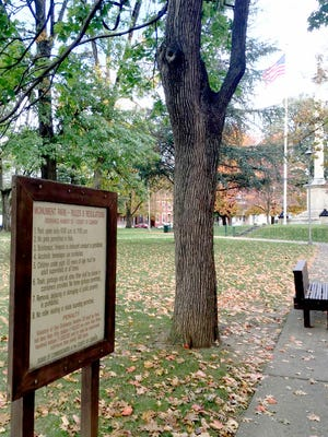 The sign in Monument Park at Eighth and Lehman streets in Lebanon says open from dawn to 11 p.m. but that changed on Thursday when the county commissioners made the county-owned park's hours of operation from dawn to dusk so it would comply with the city-owned parks.