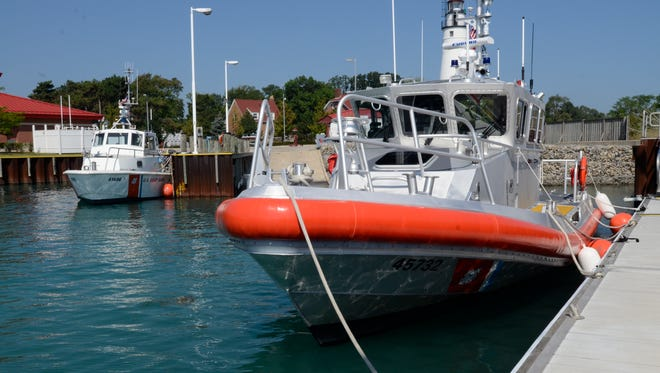 A 45-foot response boat sits in the water at the U.S. Coast Guard Lifesaving Station in Port Huron.