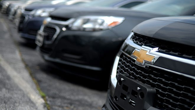 6/11/14 12:09:21 PM -- Frederick, MD, U.S.A  -- A look at how GM dealerships are handling the recalls. -- A general view of Chevrolet Malibu vehicles at Fitzgerald Auto Mall on June 11, 2014 in Frederick, Maryland. Technicians at Fitzgerald Auto Mall say they perform about 30 GM ignition switch recall repairs daily. (Photo by Patrick Smith, Freelance) ORG XMIT: PS 131249 gm dealers 06/11/2014 [Via MerlinFTP Drop]