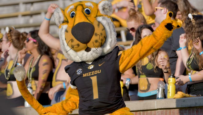 Sep 24, 2016; Columbia, MO, USA; The Missouri Tigers mascot Truman entertains fans during the second half against the Delaware State Hornets at Faurot Field. Missouri won 79-0.