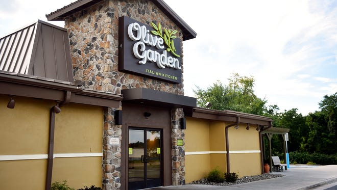 The updated facade of Olive Garden's West Manchester Township location is shown Wednesday, Aug. 23, 2017. The restaurant recently underwent its first major overhaul since the location opened in 1989, with crews working overnight for 3 months to complete renovations while the restaurant stayed open for business.