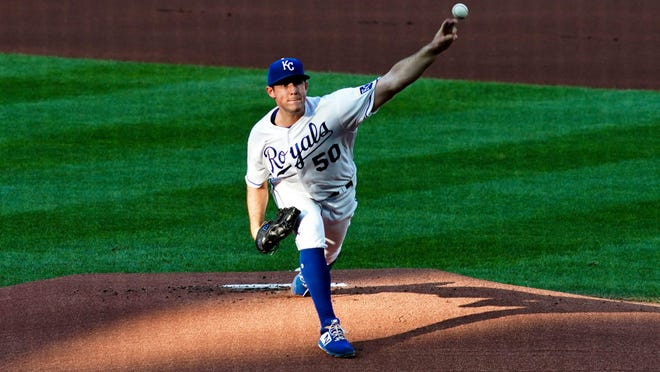 Kansas City Royals starting pitcher Kris Bubic (50) throws against the Chicago Cubs during the first inning of Wednesday's game at Kauffman Stadium. Bubic suffered the loss in the 6-1 defeat despite allowing just two runs in six innings and striking out six.