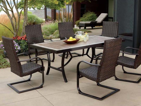 The legs of the chairs sold with the Fairview 7-piece woven patio dining set can bend and break, posing a fall hazard to the user.