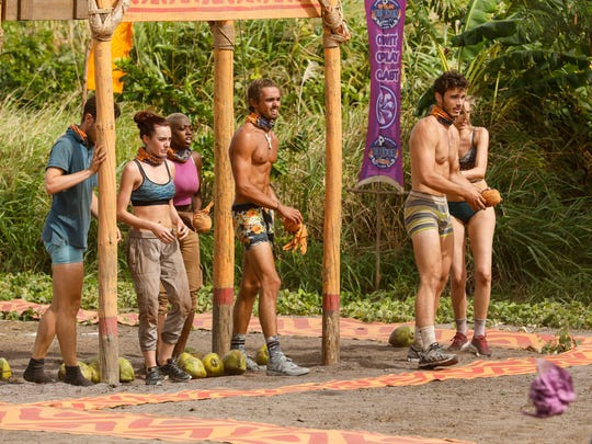 "From left, Bradley Kleihege, Chelsea Townsend, Desiree Afuye, Sebastian Noel, Michael Yerger and Kellyn Bechtold compete in a challenge on ""Survivor: Ghost Island."""