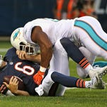 Aug 13, 2015; Chicago, IL, USA; Miami Dolphins wide receiver LaRon Byrd (81) makes a catch over Chicago Bears defensive back Al Louis-Jean (29) during the second quarter of a preseason NFL football game at Soldier Field. Mandatory Credit: Dennis Wierzbicki-USA TODAY Sports
