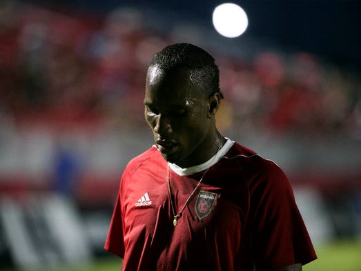 Phoenix Rising's Didier Drogba comes off the field
