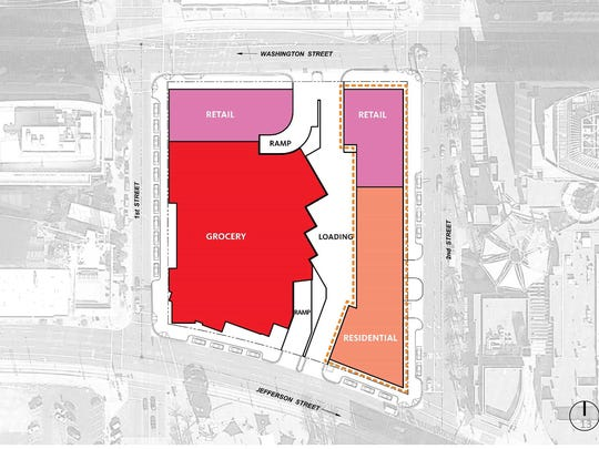 A layout of how the Fry's complex might look in downtown