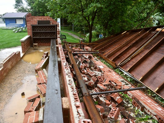 Dallastown baseball's home dugout is shown in pieces