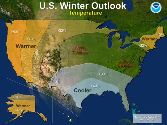 Forecasters expect a warmer-than-average winter throughout the western United States.