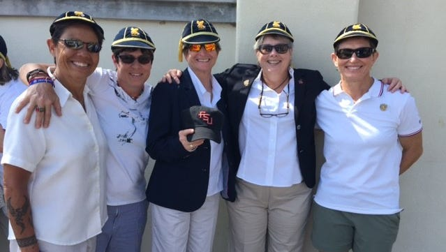 (From left) Kathy Flores, Patty Jervey, Candi Orsini, Val Sullivan and Colleen Fahey are all FSU alums who were a part of U.S. women's rugby to the 1991 World Cup title. Claire Godwin is not in the photo.