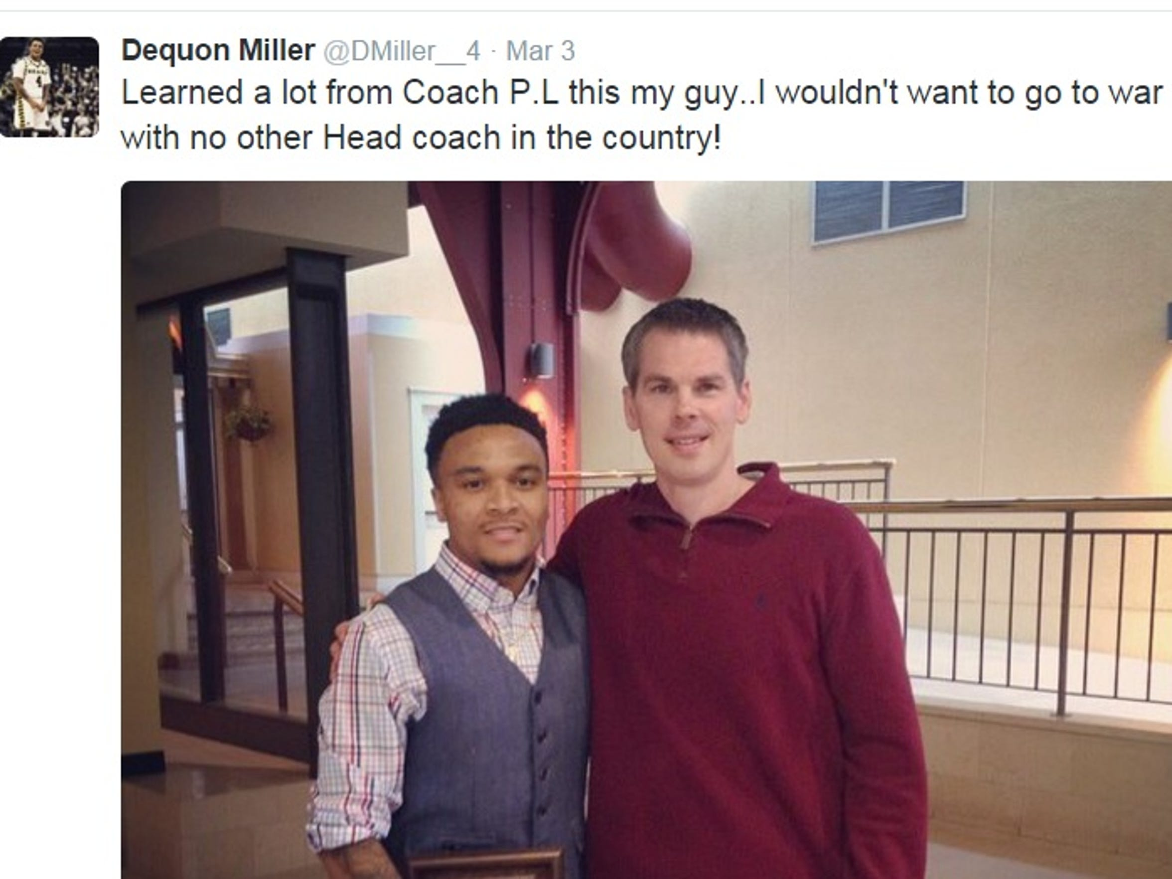 Dequon Miller isn't shy about sharing his feelings