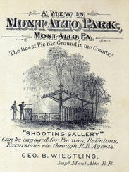 An advertising card for Mont Alto Park from the late