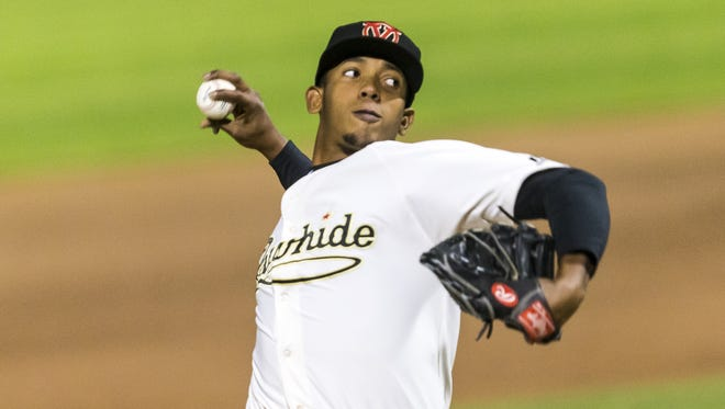 Visalia Rawhide pitcher Jose Almonte throws a pitch in a game earlier this season at Recreation Park.