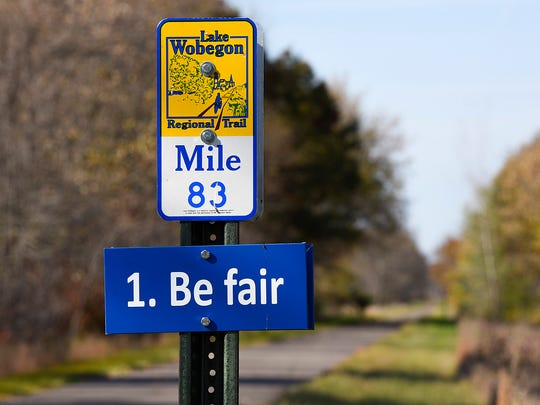 Each mile marker on the Wobegon Trail starting in St. Joseph has one of Jacob Wetterling's 11 points of living, for 11 consecutive miles.