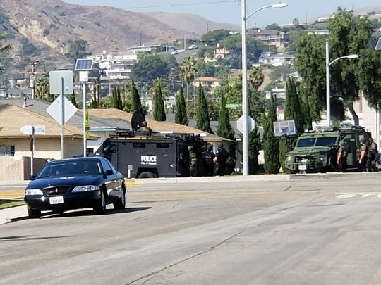 The police presence was highly visible Friday afternoon as authorities hunted for a double-homicide suspect in Ventura.