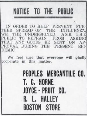 1918 Flu epidemic in Carlsbad.