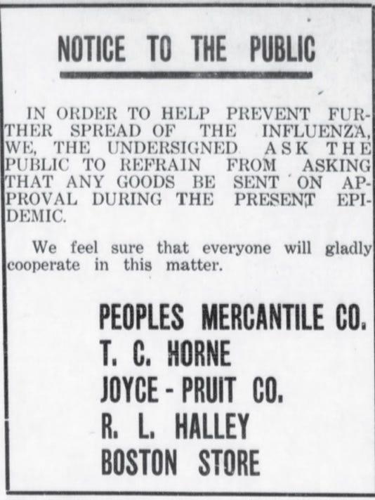 1918 Flu epidemic in Carlsbad