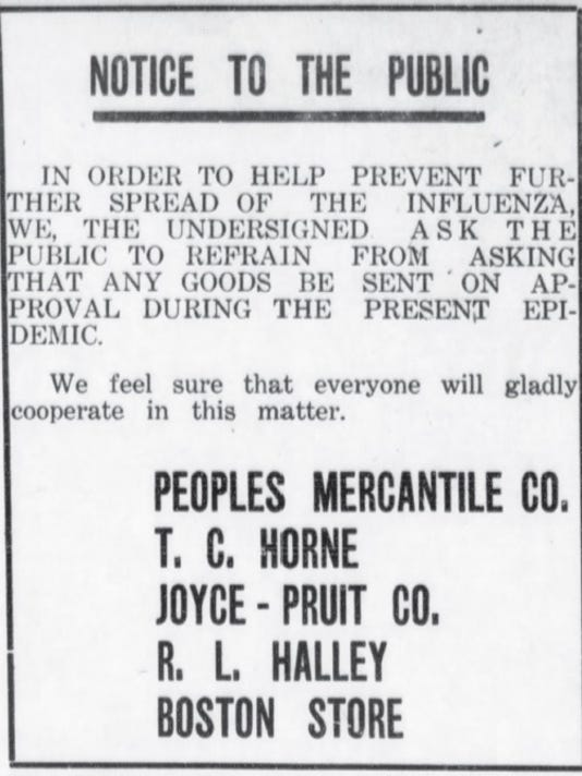 1918 Flu epidemic in Carlsbad