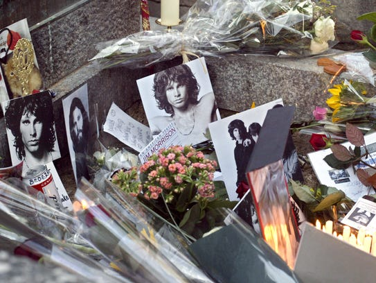 The grave of Jim Morrison at Pere Lachaise cemetery