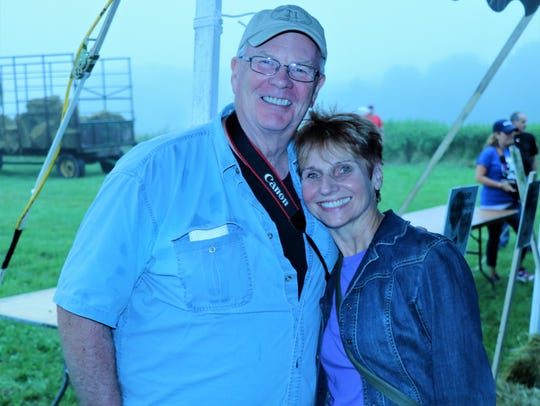 Chris Cochrane, right, with her husband, Dave, at the second day of the QuickChek New Jersey Festival of Ballooning at Solberg Airport in Readington on July 28.