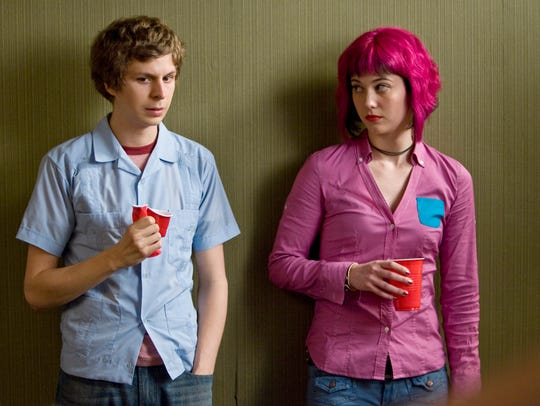 """Scott Pilgrim (Michael Cera) has a meet-awkward moment with Ramona Flowers (Mary Elizabeth Winstead), before he learns he must defeat her seven evil exes in """"Scott Pilgrim vs. the World."""""""