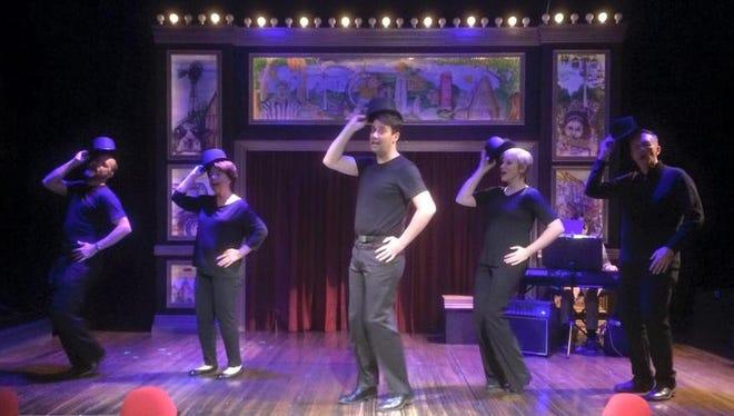 "Craig Petersen, Mary Bricker, Douglas Cochrane, Megan Schettler Shug and Maxwell Schaeffer form the cast of ""UtopIA"" through Jan. 2 at Grand View University's Viking Theatre."