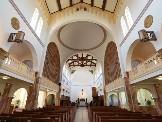 Natural light fills the Romanesque-style church at the Mount Angel Abbey.