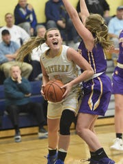 Northern Lebanon's Liz Voight teamed with Zara Zerman to form Lebanon County's best girls basketball duo this past season.