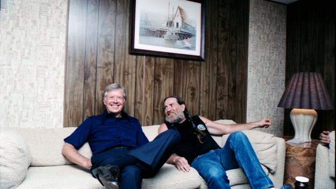 President Jimmy Carter hangs out with his musical pal Willie Nelson.