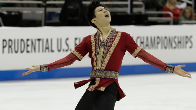 Nathan Chen performs during the men's free skate competition at the U.S. Figure Skating Championships, Sunday in Kansas City, Mo.