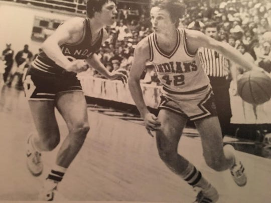 Current University of Evansville men's basketball assistant coach Doug Novsek during his days playing at Lawrenceville High School in Illinois.
