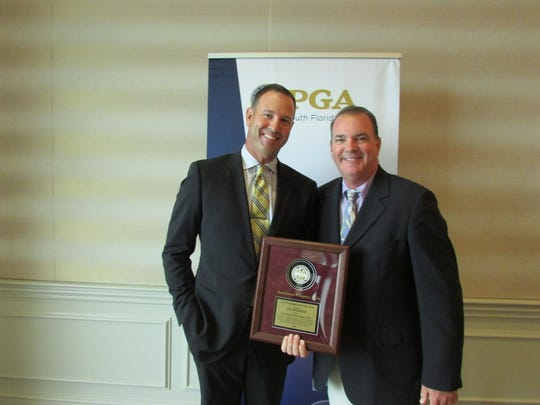 Southwest Chapter PGA President Bill Harley, right,