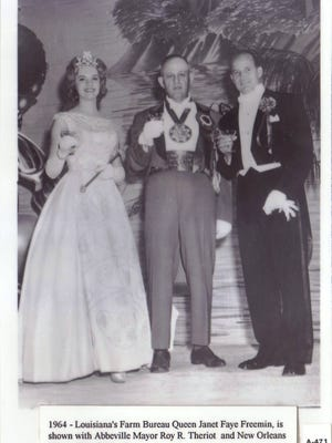 "Farm queen  (From left) Louisiana Farm Bureau Queen of 1964, Janet Faye Freemin, with Abbeville Mayor Roy R. Theriot and New Orleans Mayor ""Chep"" Morrison."