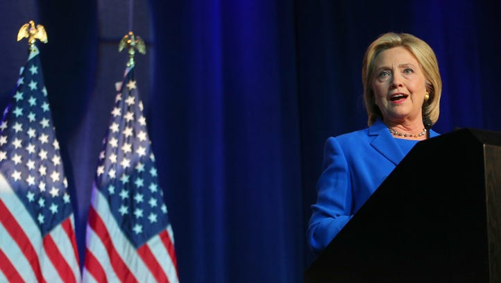 Hillary Clinton speaks at the Democratic National Committee