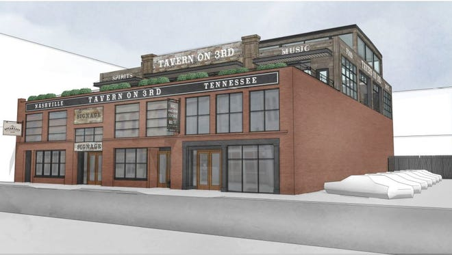 A rendered perspective showing a rooftop and other additions planned to the building at 120/122 Third Ave. S.