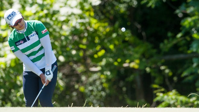 Amy Yang chips onto seventeen during round four of the Yokohama Tire LPGA Classic at the Robert Trent Jones Golf Trail in Prattville, Ala., on Sunday May 8, 2016.