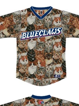 The Lakewood BlueClaws will be sporting these cat jerseys on Saturday.